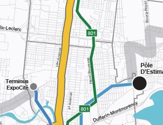 Carte du réseau du service métrobus 801 implanté graduellement d'ici 2026