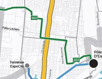 Carte du réseau du service métrobus 803 implanté graduellement d'ici 2026