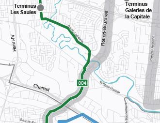 Carte du réseau du service métrobus 804 implanté graduellement d'ici 2026