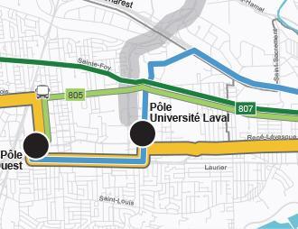Carte du réseau du service métrobus 805 implanté graduellement d'ici 2026
