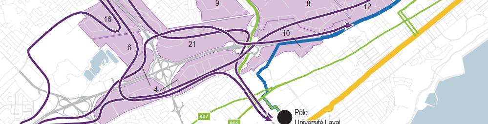 Carte du réseau du service leBus (industriels) implanté graduellement d'ici 2026