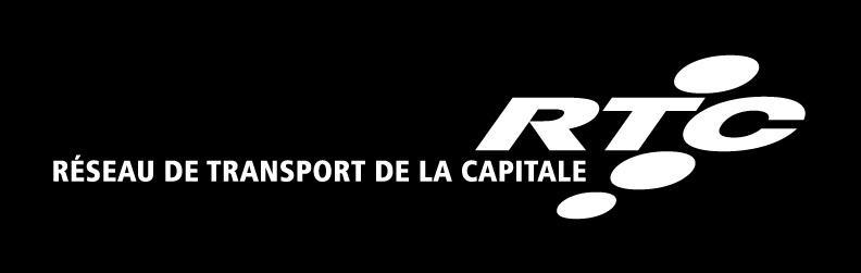 Logo horizontal fond noir lettre blanche : Réseau de transport de la Capitale RTC