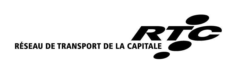 Logo horizontal fond blanc lettre noire : Réseau de transport de la Capitale RTC