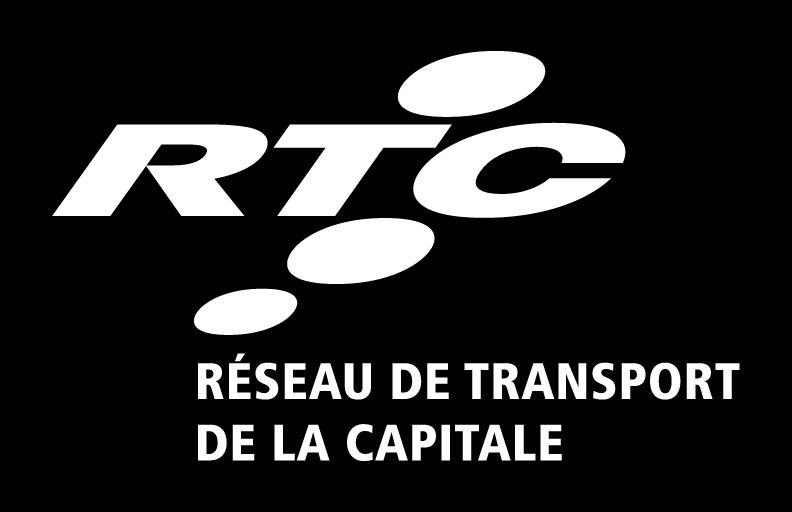 Logo vertical fond noir lettre blanche : RTC Réseau de transport de la Capitale