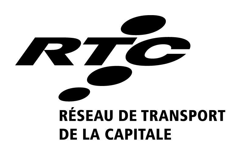 Logo vertical fonc blanc lettre noire : RTC Réseau de transport de la Capitale
